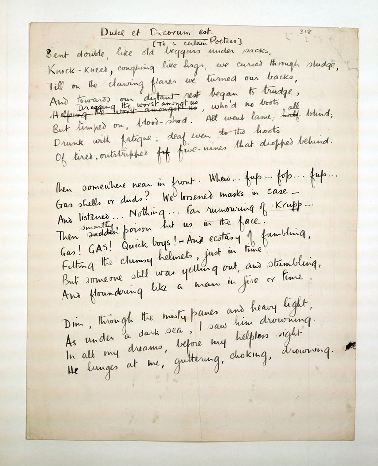 Photo - This undated photo provided by the Trustees of the Wilfred Owen Estate and the First World War Poetry Digital Archive shows a draft of the poem