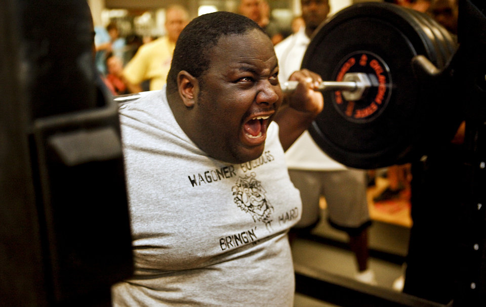 Jeremy 'Worm' Hinson of Wagoner, Okla. makes his attempt at squatting 600 pounds during the powerlifting competition for the Special Olympics at Oklahoma State University (OSU) on Wednesday, May 13, 2009, in Stillwater, Okla.   Photo by Chris Landsberger, The Oklahoman