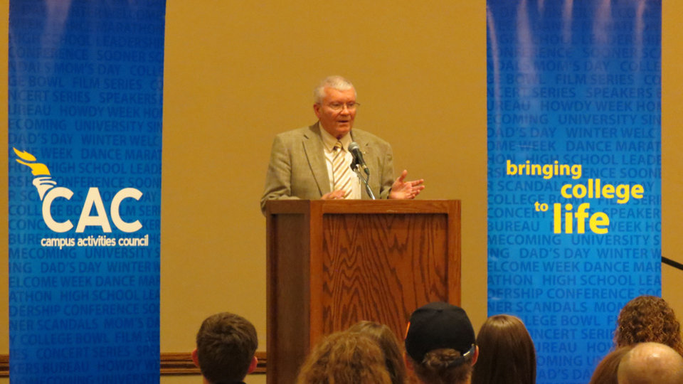 Former astronaut Fred Haise speaks Friday during a visit to the University of Oklahoma.  Photo by Silas Allen, The Oklahoman