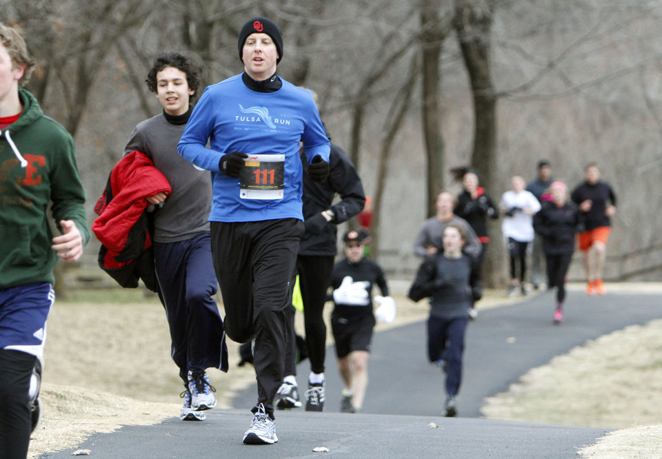 Runners make their way through the Forever Edmond 5K run at Hafer Park in Edmond, OK, Saturday, January 12, 2013. The walk and run was held for the first time to raise money for American Foundation for Suicide Prevention.  By Paul Hellstern, The Oklahoman