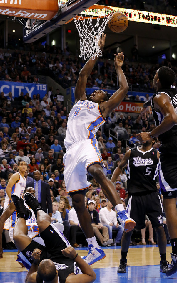 Oklahoma City's Serge Ibaka (9) goes to the basket during an NBA basketball game between the Oklahoma City Thunder and the Sacramento Kings at Chesapeake Energy Arena in Oklahoma City, Friday, Dec. 14, 2012. Photo by Bryan Terry, The Oklahoman