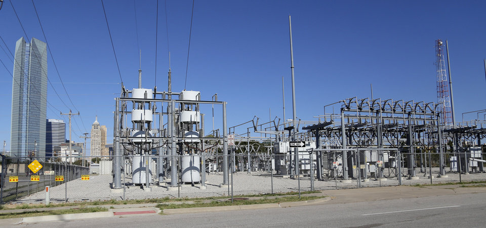 Photo -  Power sub station at SW 5th and Robinson looking north towards downtown Friday, October 31, 2014.  Photo by Doug Hoke, The Oklahoman