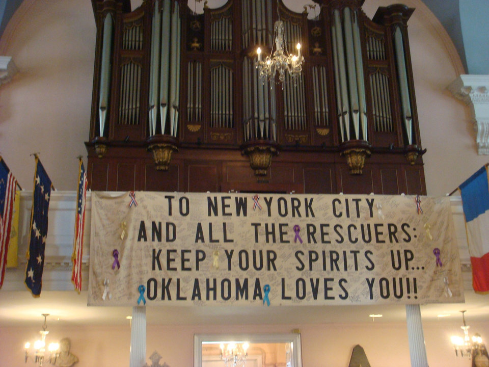Inside St. Paul\'s Chapel NYC across from ground zero 10 years later; why people here know that Oklahoma is o.k.