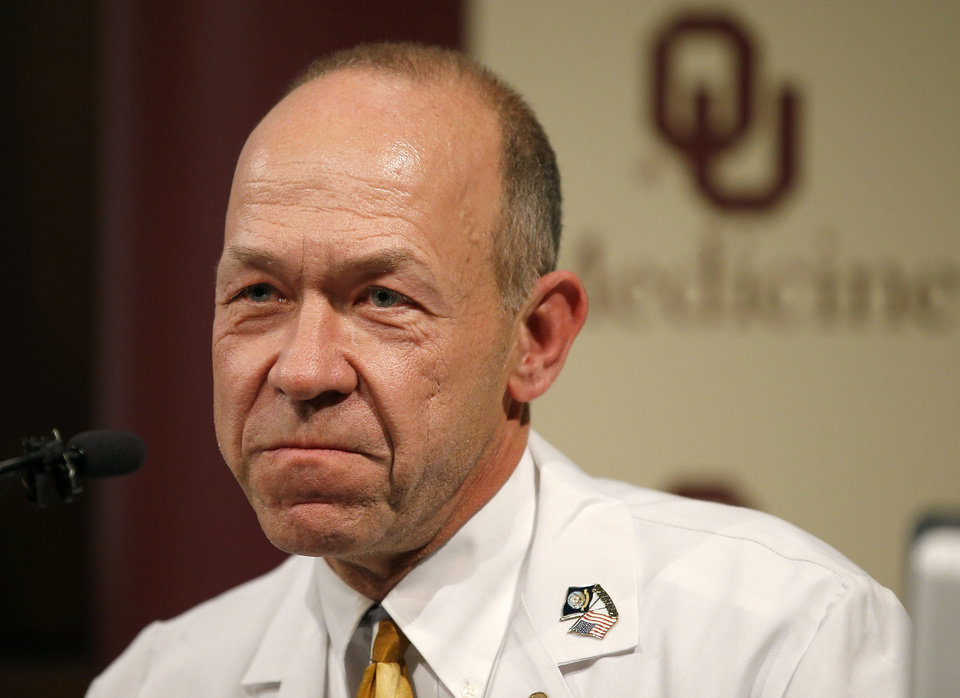 Photo - Jeffrey Bender, MD, OU Medical Center trauma surgeon talks during a press conference about the skydiving accident that badly injured Makenzie Wethington, 16, of Joshua, Texas, at the OU Medical Center in Oklahoma City, Tuesday, Jan., 28, 2013. Makenzie and her father, Joe, traveled from Joshua, Texas, to Chickasha, Okla., on Saturday to skydive. Photo by Bryan Terry, The Oklahoman