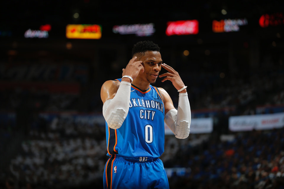 Photo - Russell Westbrook (0) of Oklahoma City gestures towards the bench during Game 5 of the first round NBA playoff series between the Oklahoma City Thunder and the Utah Jazz at Chesapeake Energy Arena in Oklahoma City, Wednesday, April 25, 2018. Photo by Bryan Terry, The Oklahoman