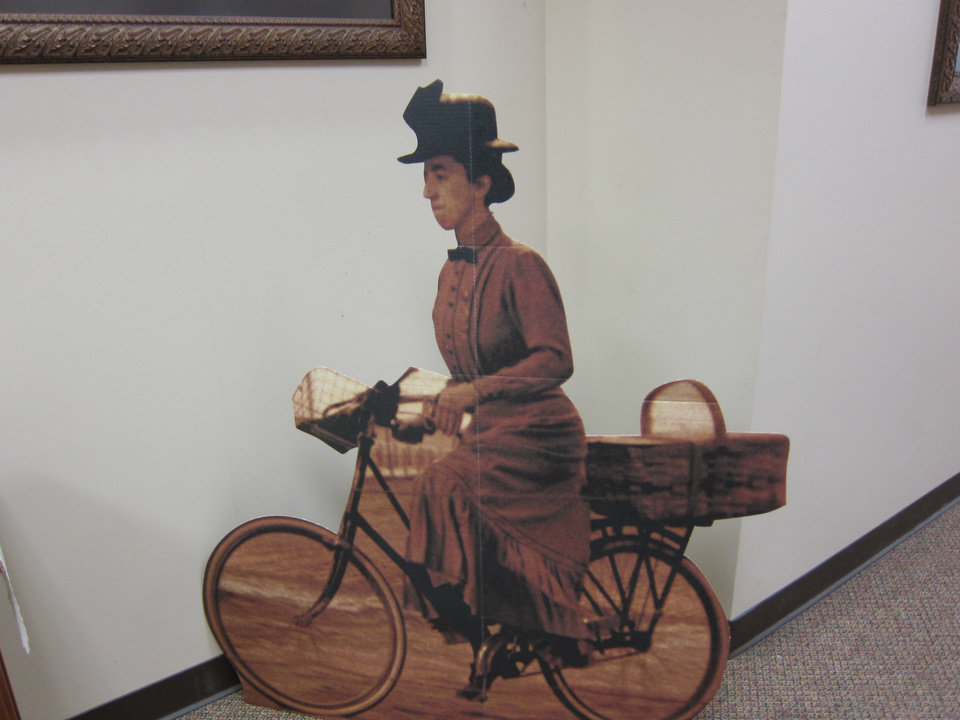 """Photo -  A pop-up image of Miss Almira Gulch, a character from """"The Wizard of Oz,"""" is displayed in the hallway at St. Andrew Catholic Church in Moore. Photo by Carla Hinton, The Oklahoman"""