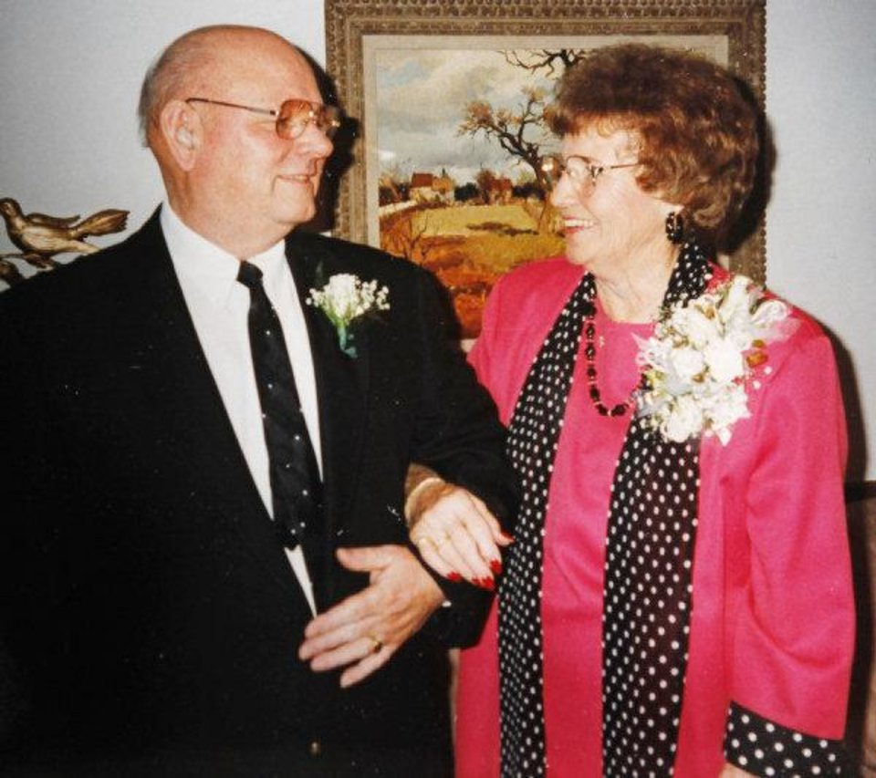 A photo of Boyd Haynes and Doris Haynes on their 50th wedding anniversary in 1993, copied in Oklahoma City, Thursday, July 14, 2011. The couple was couple found dead after their house was firebombed Wednesday. Cherokee Ballard, spokeswoman for the Oklahoma medical examiner, said the deaths of Boyd Haynes, 87, and Doris Haynes, 86, have been ruled homicides. Photo provided by the Haynes family ORG XMIT: KOD