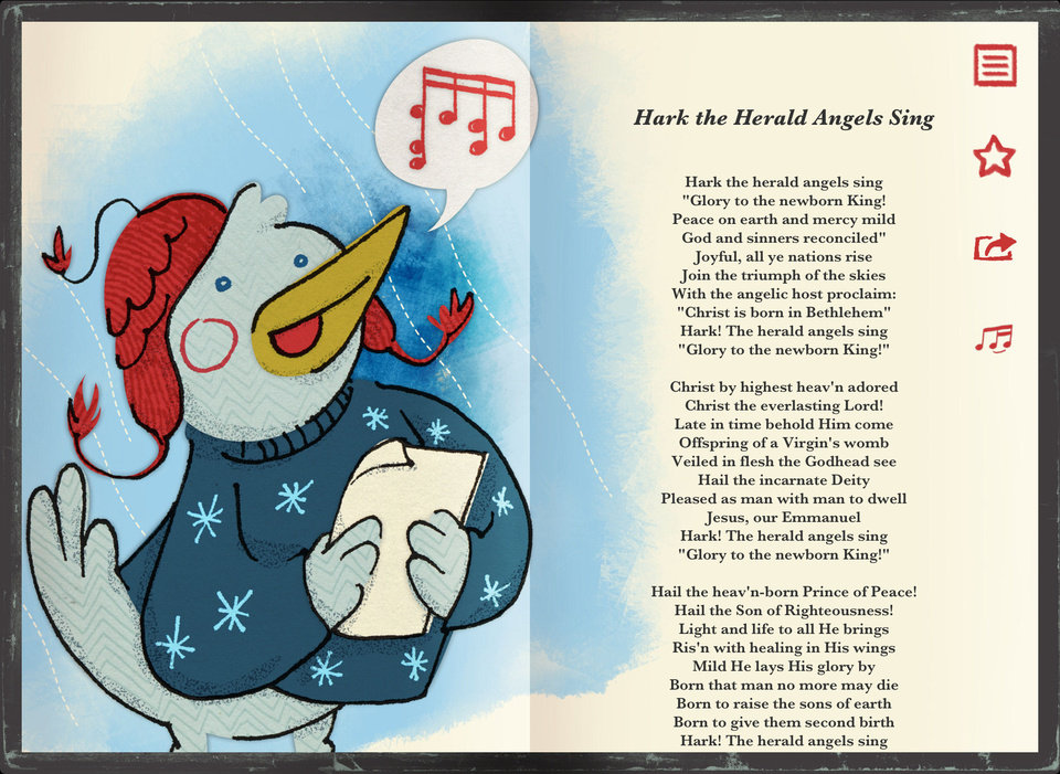 "If you're going caroling today and need help remembering all the words to 14 songs, including ""Hark the Herald Angels Sing,"" check out the new mobile application ""Tannenbaum ? Illustrated Caroling Companion"" for your iPhone or iPad. PHOTO PROVIDED <strong></strong>"