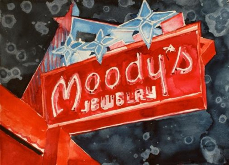 "Tulsa artist Tommy Ball\'s ""Moody\'s Neon,"" a watercolor painting on paper, is featured in the Oklahoma Visual Arts Coalition\'s 2013 ""Momentum"" exhibition."