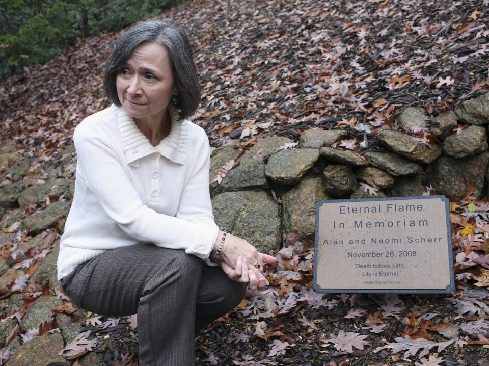 FILE - In this Nov. 11, 2009 file photo, Synchronicity Foundation member Kia Scherr, whose husband Alan and 13-year-old daughter Naomi were gunned during the 2008 terrorist attack in Mumbai, India, is seen in Charlottesville, Va. David Coleman Headley, 52, a small-time American drug dealer-turned-terrorist plotter who helped plan the attack is scheduled to be sentenced Thursday, Jan. 24, 2013, at federal court in Chicago. (AP Photo/Andrew Shurtleff, The Daily Progress, File)