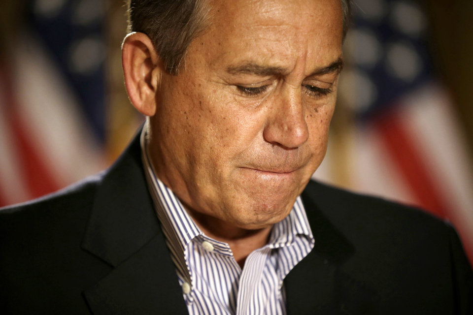 House Speaker John Boehner of Ohio pauses during a news conference on Capitol Hill in Washington, Friday, Dec. 7, 2012, to discuss the pending fiscal cliff. Boehner said there\'s been no progress in negotiations on how to avoid the fiscal cliff of tax hikes and spending cuts and called on President Barack Obama to come up with a new offer. (AP Photo/Pablo Martinez Monsivais)