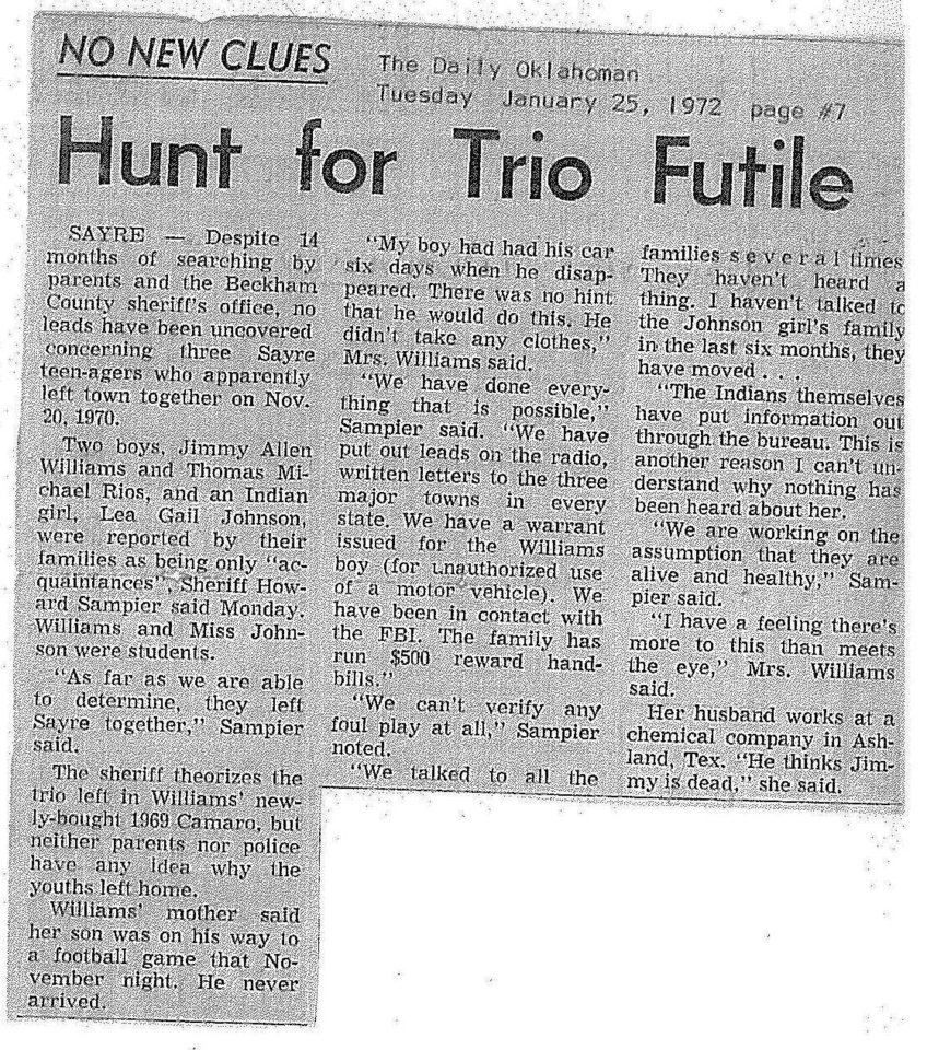 Photo - A newspaper clipping from the 1970 disappearance of a 16-year-old and two 18-year-olds in Sayre.