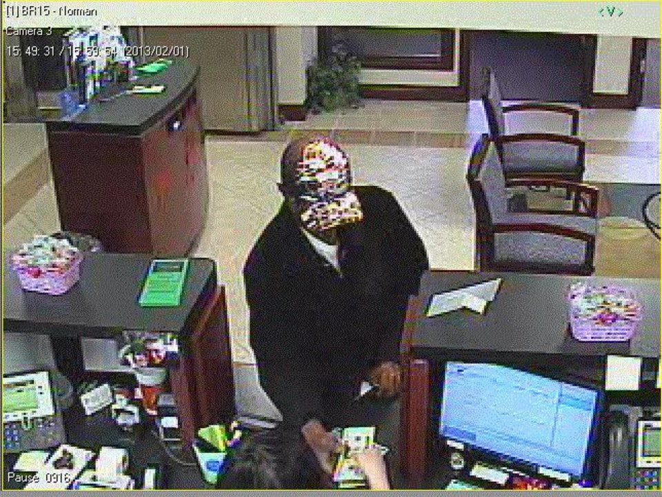 This is the suspect in Friday\'s Norman bank robbery. - Photo provided.