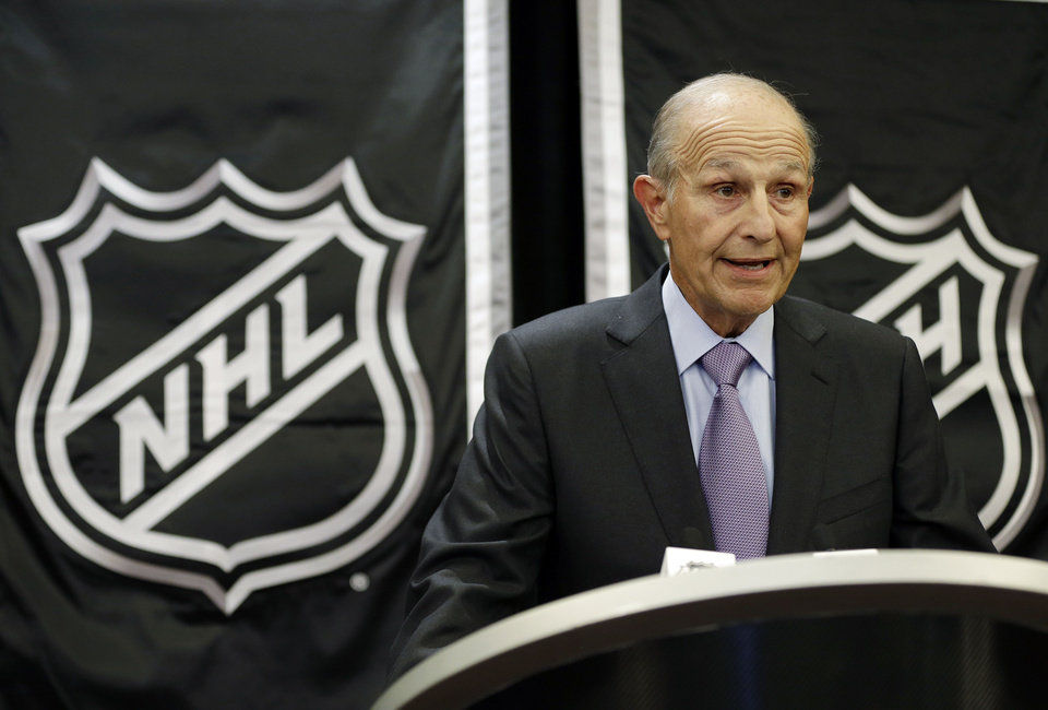 Photo - Boston Bruins owner Jeremy Jacobs speaks during a news conference, Wednesday, Jan. 9, 2013, in New York. NHL owners ratified the tentative labor deal on Wednesday. All that now remains is player approval to finally start the hockey season.  (AP Photo/Frank Franklin II)