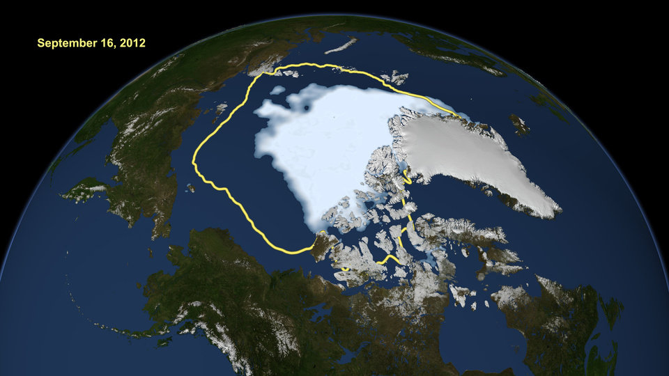 Photo -   FILE - This Sept. 16, 2012, image released by NASA shows the amount of summer sea ice in the Arctic, at center in white, and the 1979 to 2000 average extent for the day shown, with the yellow line. Scientists say sea ice in the Arctic shrank to an all-time low of 1.32 million square miles on Sept. 16, smashing old records for the critical climate indicator. Yet there are two people who aren't talking about it, and they both happen to be running for president. (AP Photo/U.S. National Snow and Ice Data Center, File)