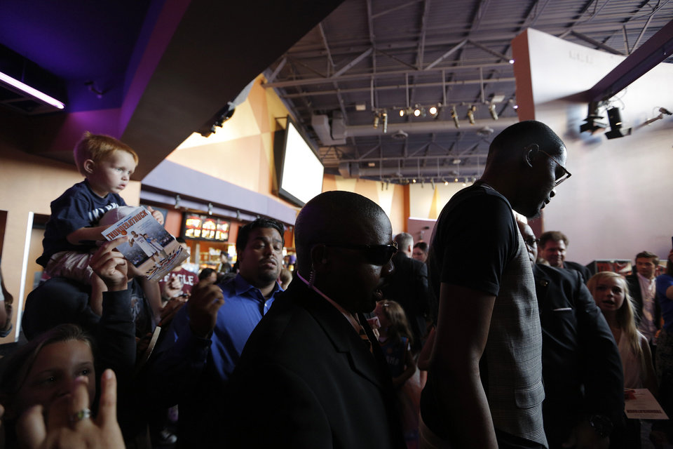 The Oklahoma City Thunder's Kevin Durant greets fans during the red carpet premiere of Thunderstruck at Harkins Bricktown Theatre in Oklahoma City, Sunday, Aug. 19, 2012.  Photo by Garett Fisbeck, For The Oklahoman