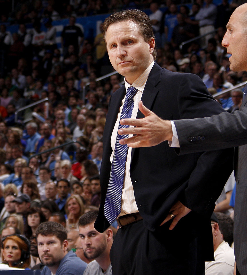 Oklahoma City coach Scott Brooks stares at an official during the NBA basketball game between the Oklahoma City Thunder and the Los Angeles Clippers at Chesapeake Energy Arena in Oklahoma City, Wednesday, April 11, 2012. Photo by Bryan Terry, The Oklahoman