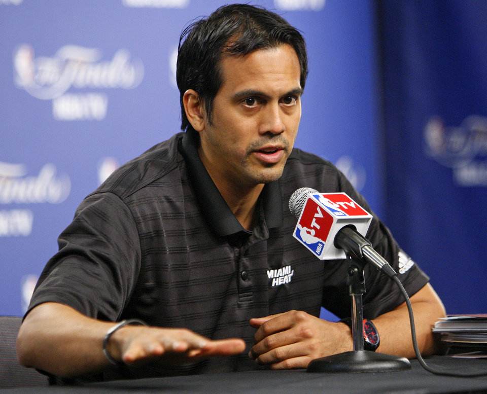 Photo - Miami coach Erik Spoelstra responds to a question during media and practice day for the NBA Finals between the Oklahoma City Thunder and the Miami Heat at the Chesapeake Energy Arena in Oklahoma City, Monday, June 11, 2012. Photo by Nate Billings, The Oklahoman