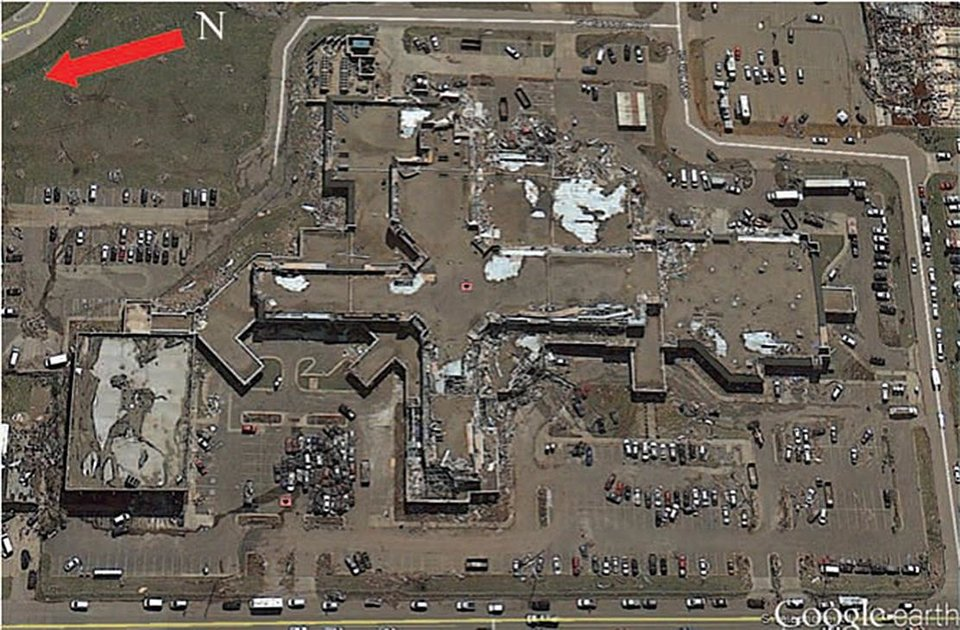Photo -  The Moore Medical Center is shown after being hit by the tornado. Source: Google Earth