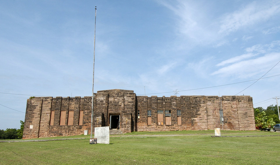 Photo shows the front side of the old National Guard Armory in Chandler.The armory was built by the WPA in 1936 and will be used as an Oklahoma Route 66 interpretive center.  Chandler, Friday August 6, 2004.  Staff photo by Steve Gooch.