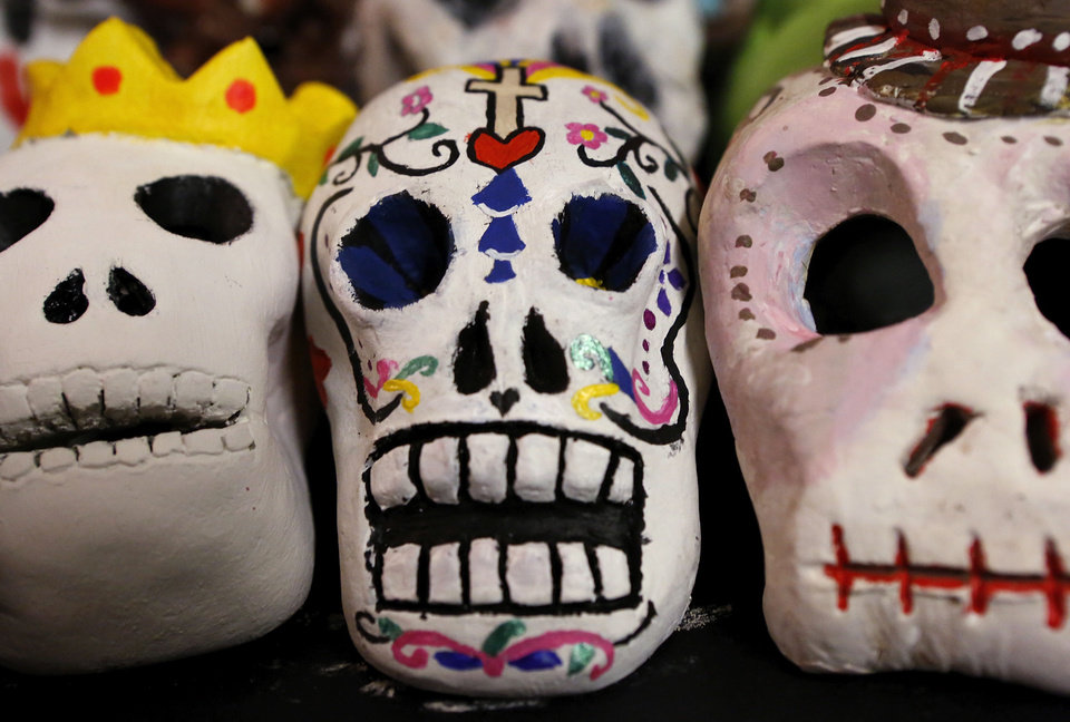 Photo - For the fourth year, the Oklahoma City Public School District is partnering with the Gold Dome Multicultural Society to display student artwork celebrating the Mexican tradition of Dia de los Muertos at the Gold Dome at NW 23 and Classen.  Jim Beckel - THE OKLAHOMAN