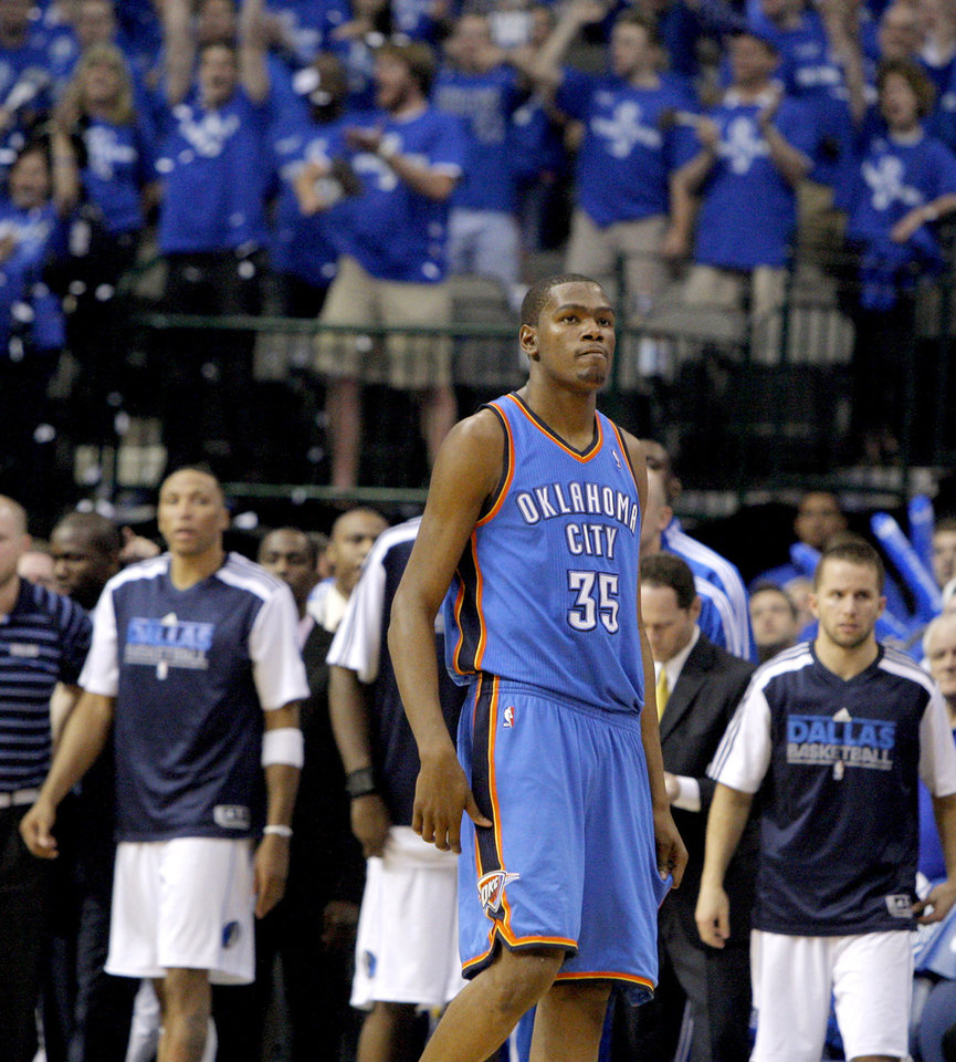 Oklahoma City's Kevin Durant (35) walks of the court after losing game 1 of the Western Conference Finals in the NBA basketball playoffs between the Dallas Mavericks and the Oklahoma City Thunder at American Airlines Center in Dallas, Tuesday, May 17, 2011. Photo by Bryan Terry, The Oklahoman
