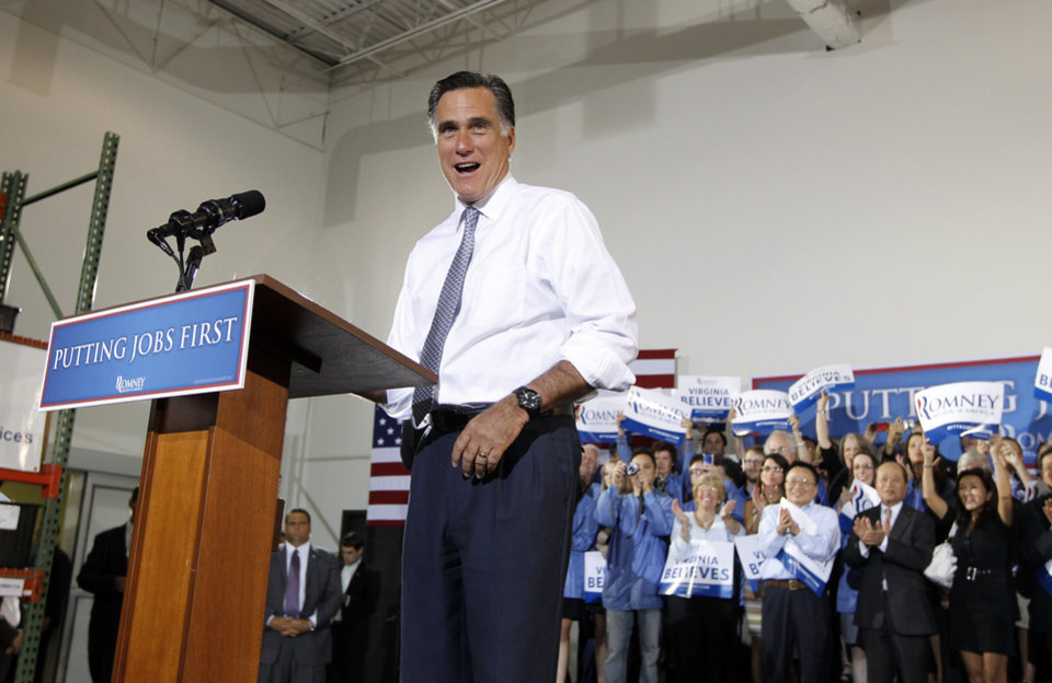 Photo -   Republican presidential candidate Mitt Romney campaigns at Electronic Instrumentation and Technology in Sterling, Va., Wednesday, June 27, 2012. (AP Photo/Charles Dharapak)
