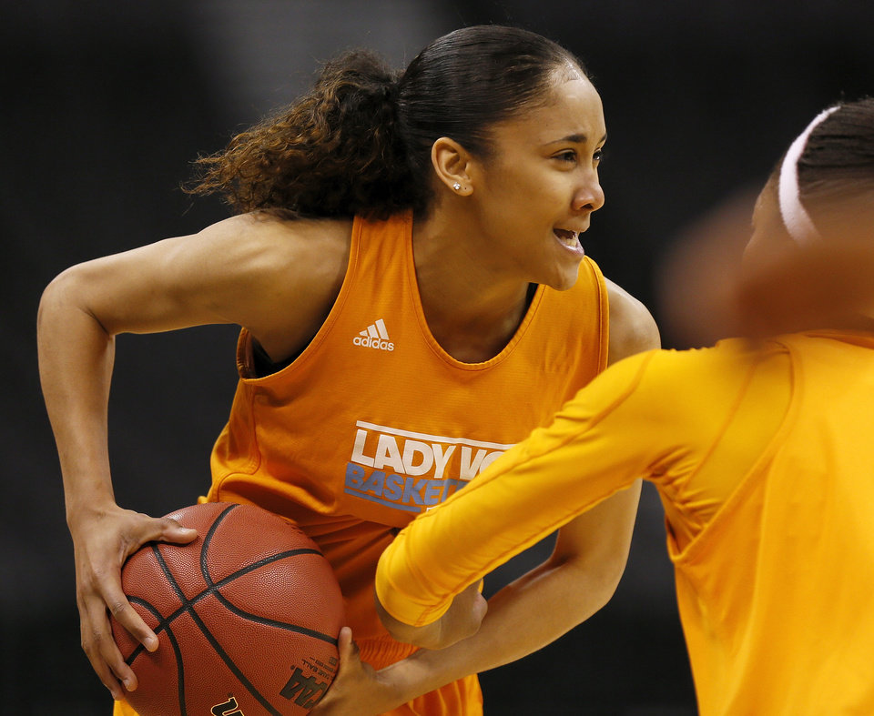 Photo - Tennessee's Meighan Simmons (10) runs through a drill during the press conference and practice day at the Oklahoma City Regional for the NCAA women's college basketball tournament at Chesapeake Arena in Oklahoma City, Saturday, March 30, 2013. Photo by Nate Billings, The Oklahoman