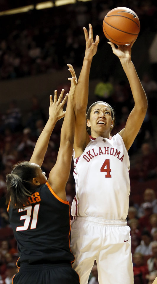Photo - Oklahoma's Nicole Griffin (4) shoots against Oklahoma State's Kendra Suttles (31) in the second half during a women's Bedlam college basketball game between the Oklahoma State University Cowgirls (OSU) and the University of Oklahoma Sooners (OU) at Lloyd Noble Center in Norman, Okla., Saturday, Feb. 1, 2014. OU won, 81-74. Photo by Nate Billings, The Oklahoman
