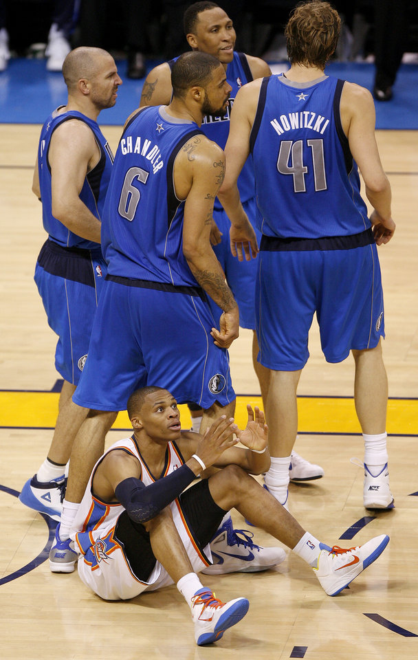 Oklahoma City's Russell Westbrook (0) reacts after a turnover in game 4 of the Western Conference Finals in the NBA basketball playoffs between the Dallas Mavericks and the Oklahoma City Thunder at the Oklahoma City Arena in downtown Oklahoma City, Monday, May 23, 2011. Dallas won in overtime, 112-105. Photo by Bryan Terry, The Oklahoman