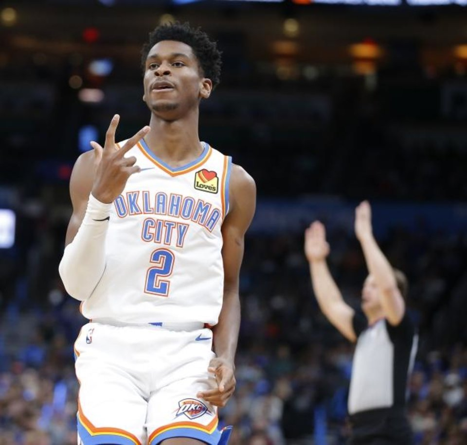 Photo -  Oklahoma City's Shai Gilgeous-Alexander faces the Clippers on Monday for the first time since  Los Angeles traded him to the Thunder. [Bryan Terry/The Oklahoman]
