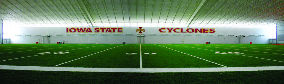 Photo - IOWA STATE UNIVERSITY, STEVE AND DEBBIE BERGSTROM INDOOR TRAINING FACILITY,  INDOOR PRACTICE FACILITY: Iowa State's training facility is housed in a 92,000-square-foot building.   PHOTO PROVIDED   ORG XMIT: 0806132205381971