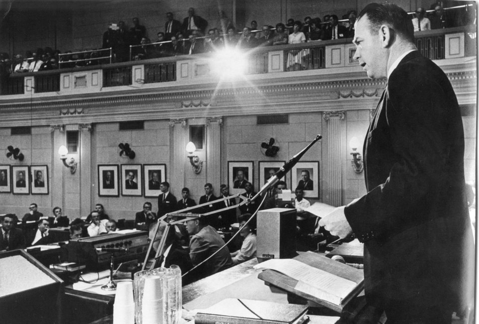 Photo - Governor Henry Bellmon  addresses joint session of the legislature. 5/3/1965
