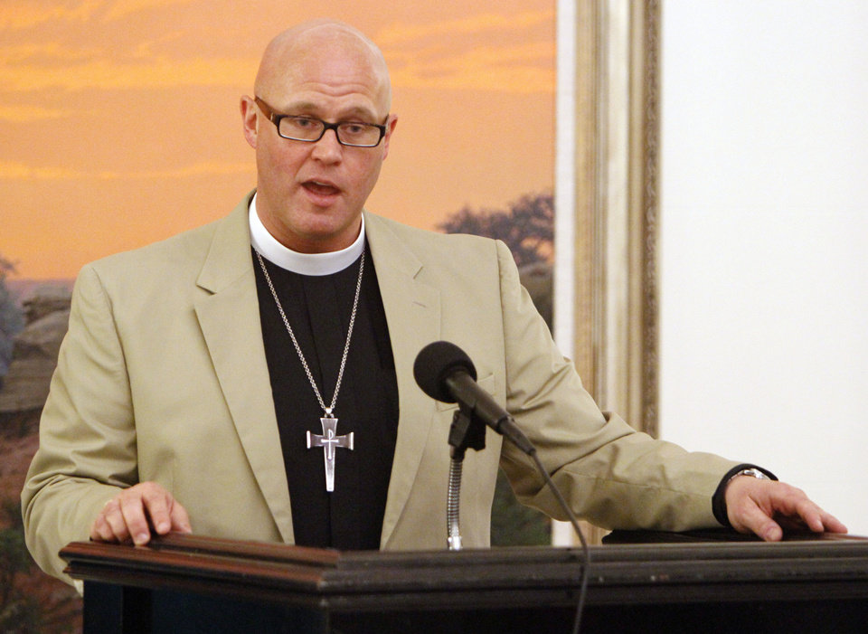 The Rev. Justin Lindstrom, dean of St. Paul's Episcopal Cathedral in Oklahoma city, speaks at an Oklahoma Interfaith Days of Prayer for Rain event at the state Capitol.  Photo By Paul Hellstern, The Oklahoman <strong>PAUL HELLSTERN - Oklahoman</strong>