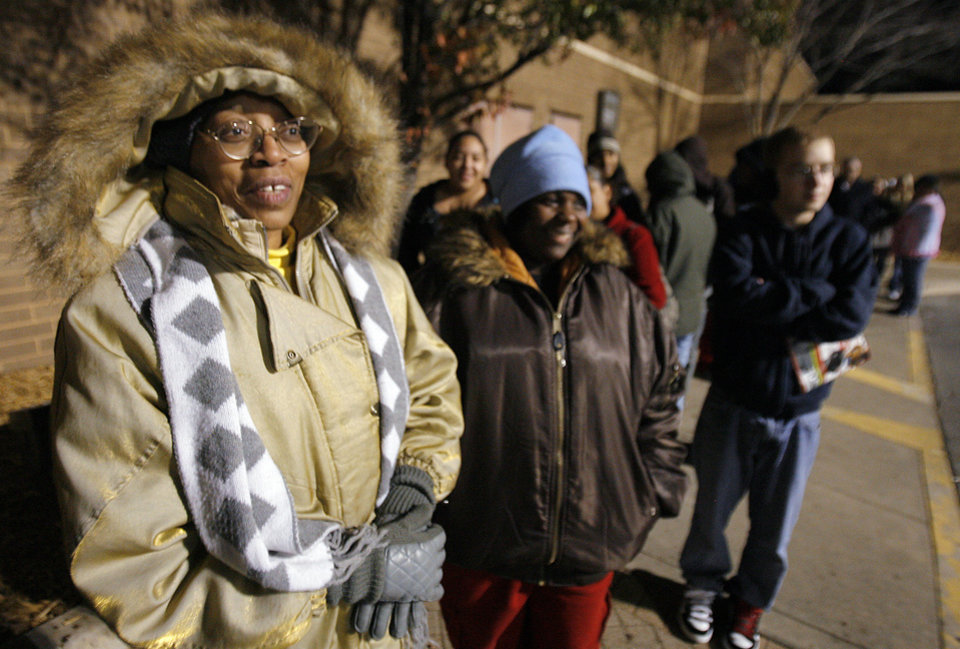Photo - Black Friday. B.J. Brown dressed warm to wait outside the J.C. Penney's in Penn Square Mall before the doors opened at 4:00 A.M., Friday, November 27, 2009. By David McDaniel, The Oklahoman.