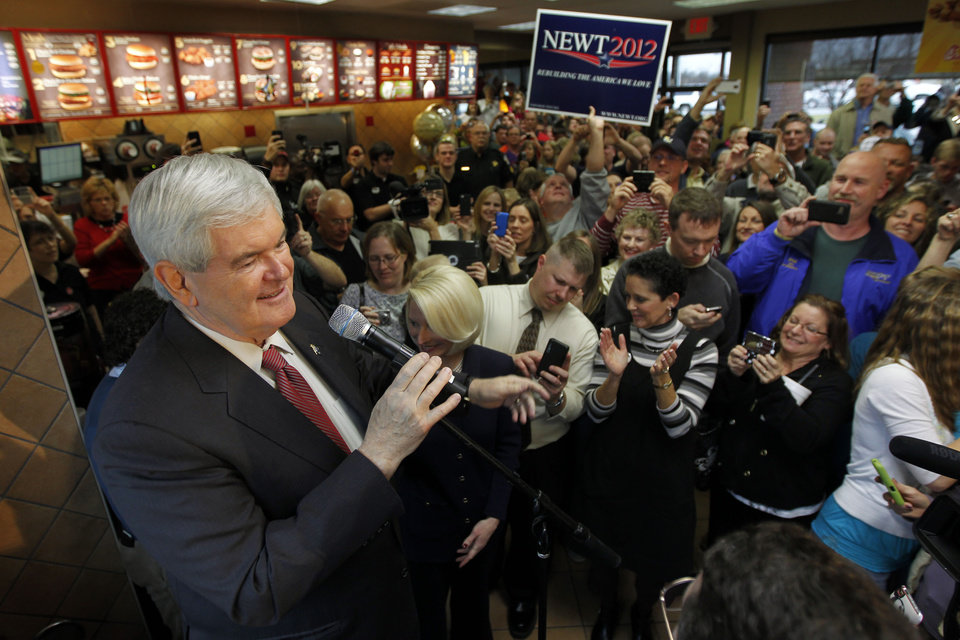 Photo - Republican presidential candidate, former House Speaker Newt Gingrich, speaks during a campaign event at a Chick-Fil-A in Anderson, S.C., Saturday, Jan. 21, 2012, on South Carolina's Republican primary election day.  (AP Photo/Matt Rourke) ORG XMIT: SCMR125