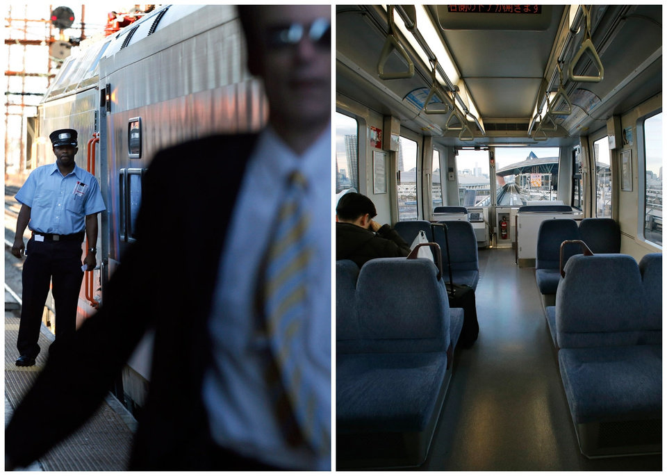 This combination of Associated Press file photos shows, left, a train conductor in 2011, in New Brunswick, N.J., and right, Tokyo's Yurikamome Line that runs without any drivers or conductors along Tokyo Bay, in 2013. Katsuya Hagane, the manager in charge of operations at New Transit Yurikamome, with just 60 regular employees, says the automated system helps keeps hiring down. (AP Photo)