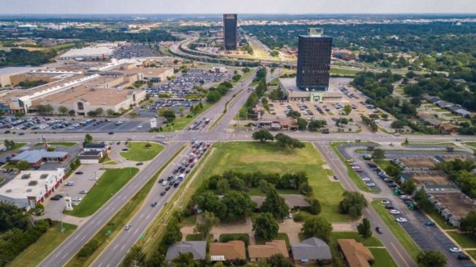 Photo -  Drone image of NW Expressway shows part of a route that a future bus rapid transit line will travel. A study is underway to create a dedicated bus lane along Northwest Expressway from Classen to Interstate 44. [Dave Morris/The Oklahoman]