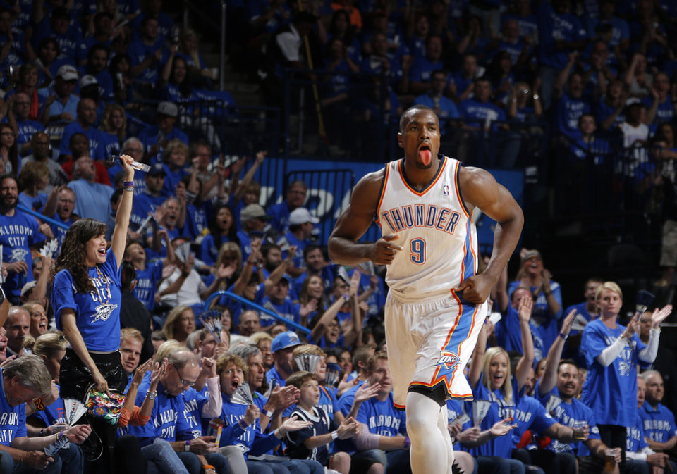 Photo - Oklahoma City's Serge Ibaka (9) celebrates  during Game 3 of the Western Conference Finals in the NBA playoffs between the Oklahoma City Thunder and the San Antonio Spurs at Chesapeake Energy Arena in Oklahoma City, Sunday, May 25, 2014. Photo by Bryan Terry, The Oklahoman