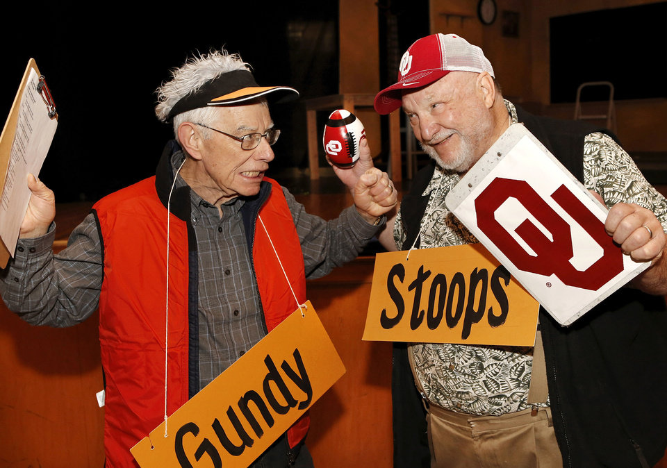 Photo - Former Oklahoman staffers John Greiner, left, and Jon (cq) Denton portray football coaches Mike Gundy and Bob Stoops in this Gridiron Show skit. In preparation for the annual OKC Gridiron Show next week,  cast members went through a  dress rehearsal of sorts Saturday afternoon, Feb. 23, 2013, in the Harding Fine Arts Academy.  The guy who plays Obama looks a lot like Obama, and there's also a Mitt Romney, Gov. Fallin, a FOI guy (poking fun at her records scandal), John Doak, blind NFL referees, Janet Baressi and an education mob, Olympic swimmers, Hillary Clinton and the nicest piano player you'll ever meet.  Photo by Jim Beckel, The Oklahoman