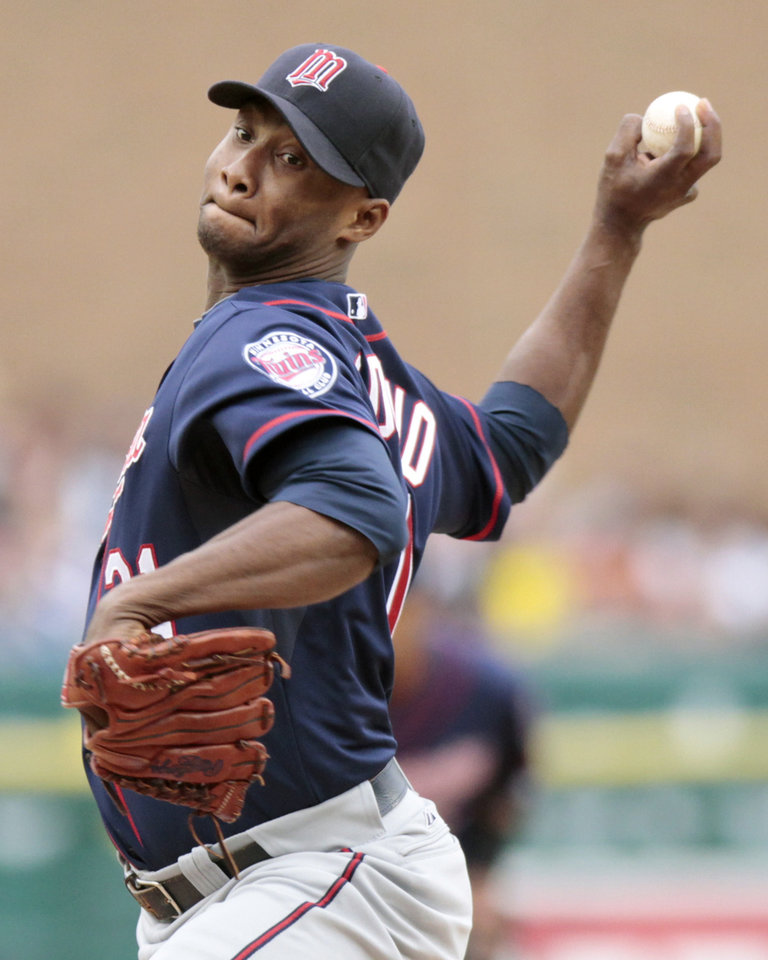 Photo -   Minnesota Twins pitcher Samuel Deduno works against a Detroit Tigers batter during the second inning of a baseball game Saturday, Sept. 22, 2012, in Detroit. (AP Photo/Duane Burleson)