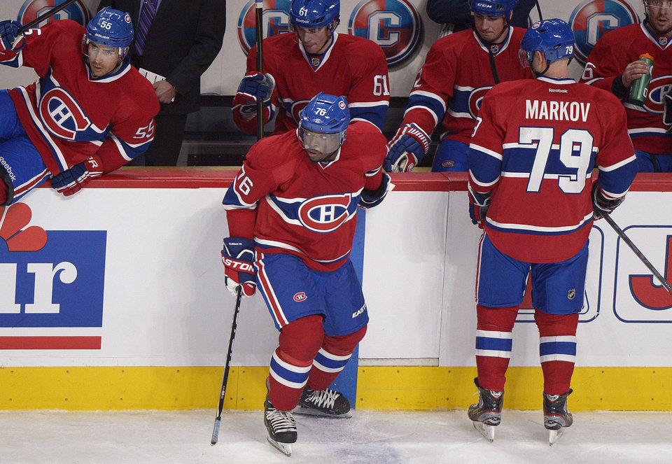 Montreal Canadiens' P.K. Subban (76) comes off the bench during first period NHL hockey action against the Buffalo Sabres in Montreal, Saturday, Feb. 2, 2013. Subban is playing his first game of the season. (AP Photo/The Canadian Press, Graham Hughes)