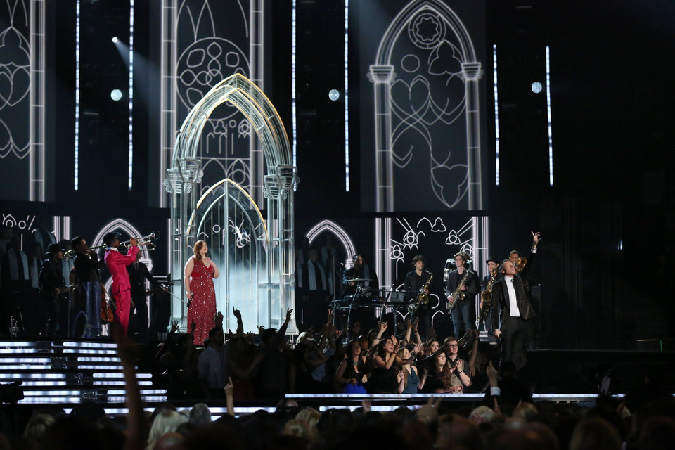 """Photo - Mary Lambert, center left, and Macklemore, right, perform """"Same Love"""" at the 56th annual Grammy Awards at Staples Center on Sunday, Jan. 26, 2014, in Los Angeles. (Photo by Matt Sayles/Invision/AP)"""