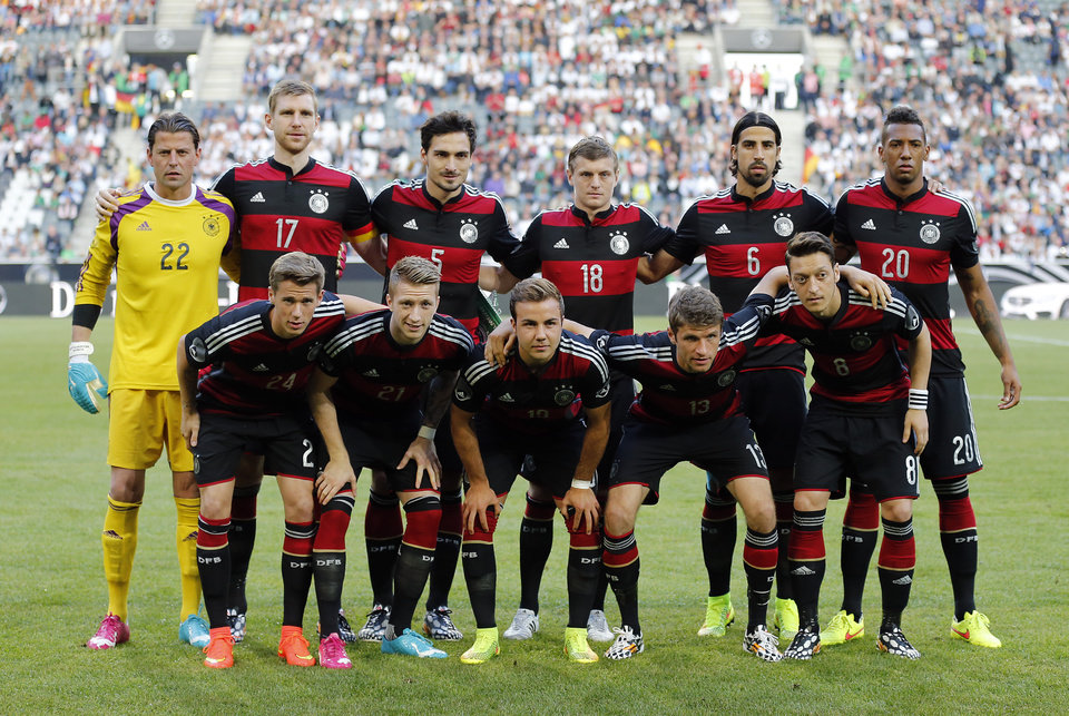 Photo - Team Germany poses for a group photo prior  a friendly WCup preparation soccer match between Germany and Cameroon in Moenchengladbach, Germany, Monday, June 2, 2014. (AP Photo/Frank Augstein)
