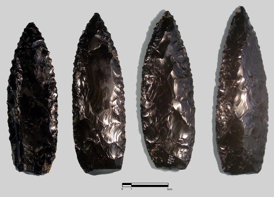 Photo -   In this undated image released by Mexico's National Institute of History and Anthropology, INAH, sharp obsidian knives found in Cantona, in the central Mexico state of Puebla, are displayed for photos. Researchers in Mexico announced Wednesday that they have found blood cells and fragments of muscle, tendon, skin and hair on 2,000-year-old stone knives, calling it the first conclusive evidence from a large number of stone implements pointing to their use in human sacrifice. (AP Photo/INAH/Yadira Martinez, HO)