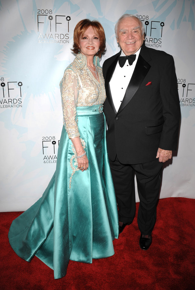 Actor Ernest Borgnine and Tova Borgnine arrive at the 36th Annual FIFI Awards hosted by the Fragrance Foundation, honoring the fragrance industry's creative achievements on Tuesday, May 20, 2008, in New York. (AP Photo/Peter Kramer) ORG XMIT: NYPK119