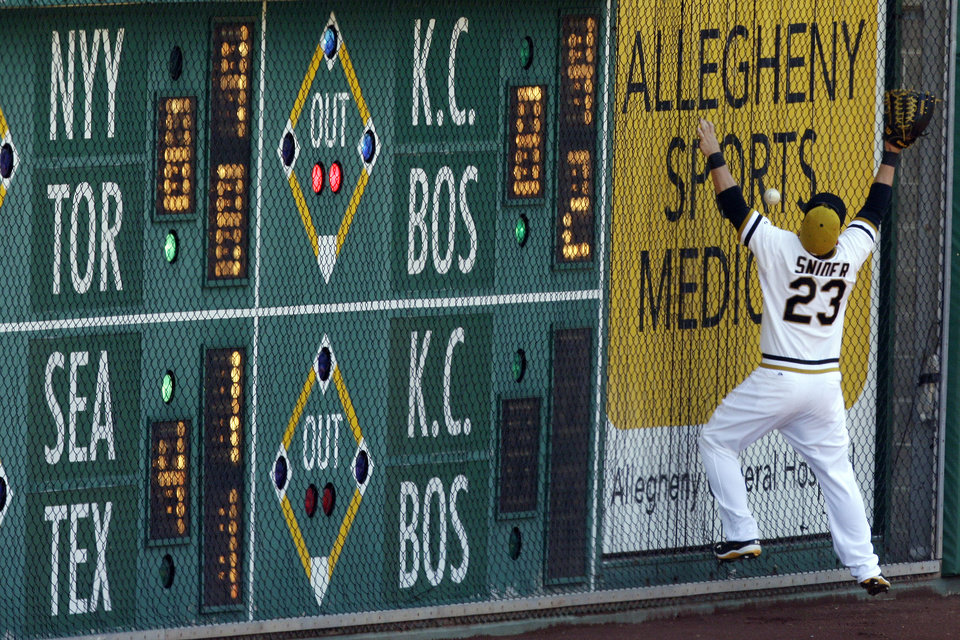 Pittsburgh Pirates right fielder Travis Snider (23) can't get to a ball hit off the right field wall by Atlanta Braves' Evan Gattis for a double during the seventh inning of a baseball game in Pittsburgh Sunday, April 21, 2013. The Pirates won 4-2. (AP Photo/Gene J. Puskar)