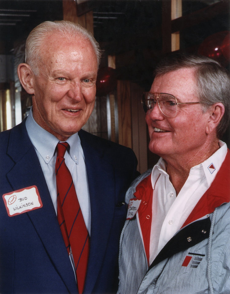 Photo - Former OU head football coach Bud Wilkinson and Darrell Royal.  OKLAHOMAN ARCHIVE PHOTO