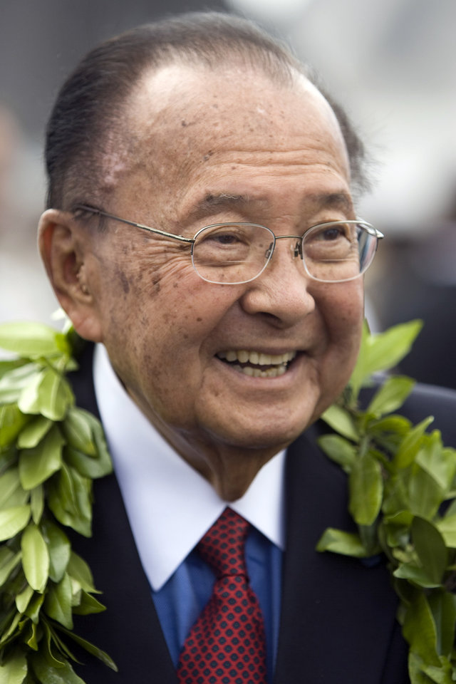 Photo - FILE - In this Friday, July 9, 2010 file photo, U.S. Sen. Daniel Inouye, D-Hawaii, is seen at the ceremony welcoming F-22 Raptor fighter jets to Joint Base Pearl Harbor-Hickham in Honolulu. Inouye has died of respiratory complications, Monday, Dec. 17, 2012, according to Inouye's office. He was 88. (AP Photo/Marco Garcia, File)