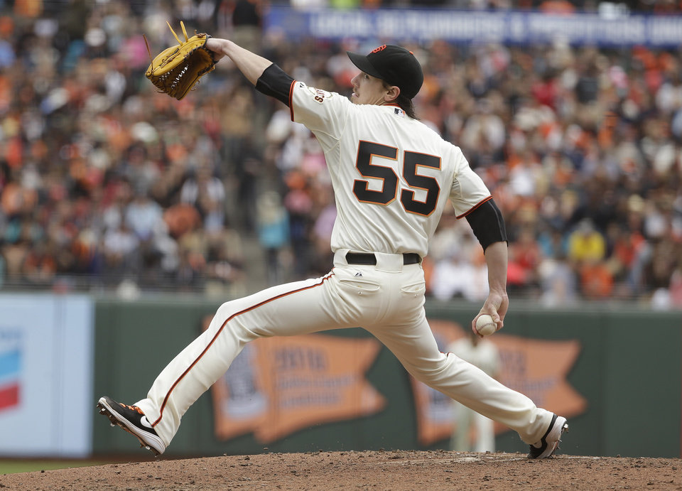 Photo - San Francisco Giants starting pitcher Tim Lincecum throws in the fifth inning of their baseball game against the San Diego Padres, Wednesday, June 25, 2014, in San Francisco. (AP Photo/Eric Risberg)